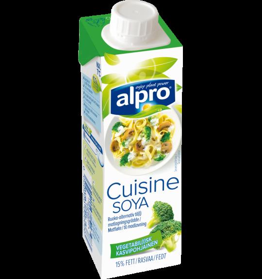 Produktpakning av Alpro Soya Alternativ til Matfløte
