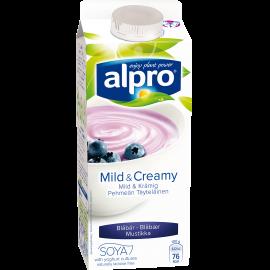 produktemballage til Alpro Mild & Creamy Blåbær
