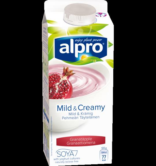 produktemballage til Alpro Mild & Creamy Granatæble