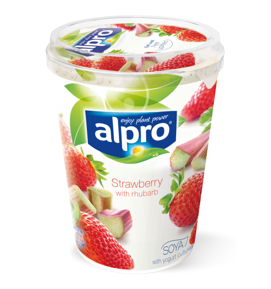 Product packaging of Alpro Strawberry with Rhubarb