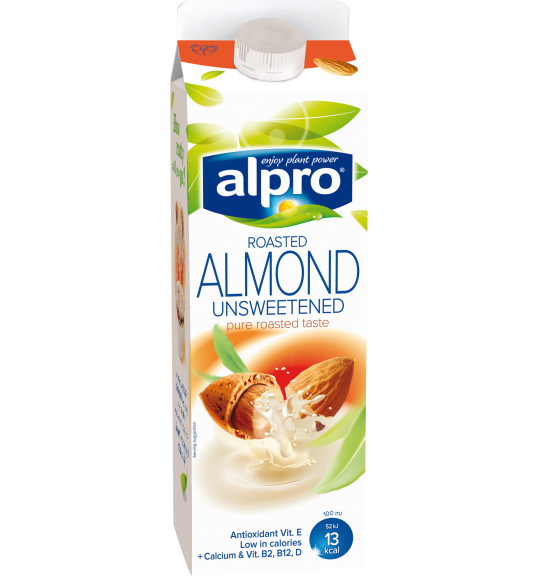 Product packaging of Alpro Almond Roasted Unsweetened Chilled