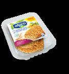 Product verpakking van Alpro tarwe Schnitzels pittig gekruid