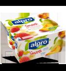 Produktpakning av Alpro Jordbær med Banan og Fersken med Pære