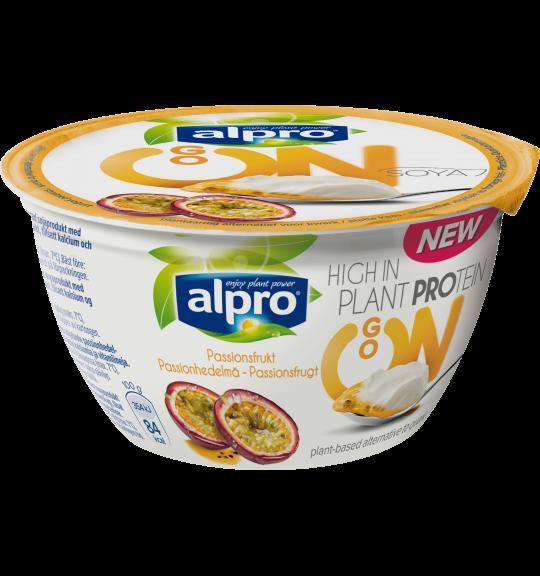 Tuotepakkaus Alpro Go On Passionhedelmä