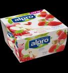 produktemballage til Alpro Røde Æbler med Ribs & Jordbær med Rabarber
