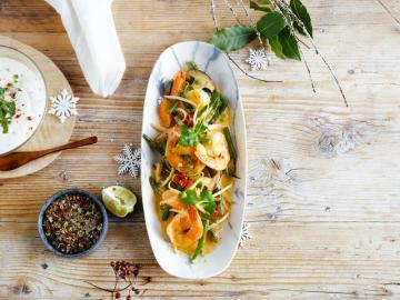 Thaise groentecurry met tijgergarnalen en kokos