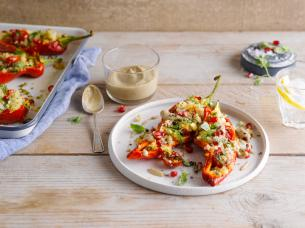 Peppers with Quinoa Salad and Baba Ganoush