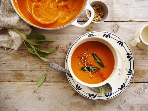 Roast Pepper and Parsnip Soup with popped Quinoa